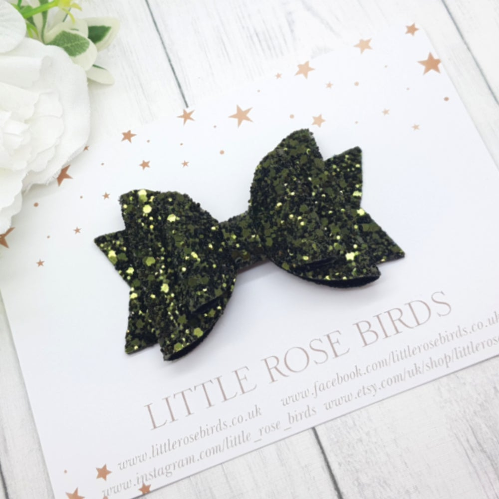 Image of Khaki Green Glitter Bow - Choice of Headband or Clip