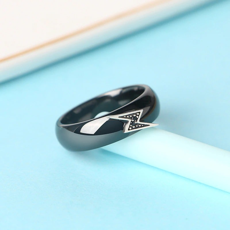 Silver Lightning & Black CZ Ceramic Ring (925 Silver)