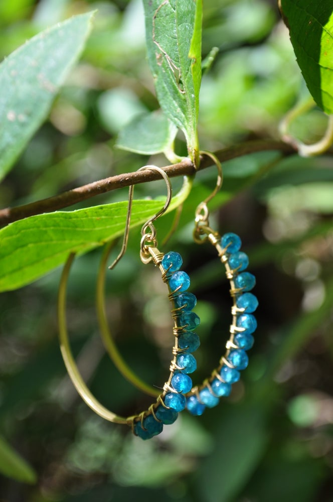 Image of Apatite and Brass Crescent Hoops
