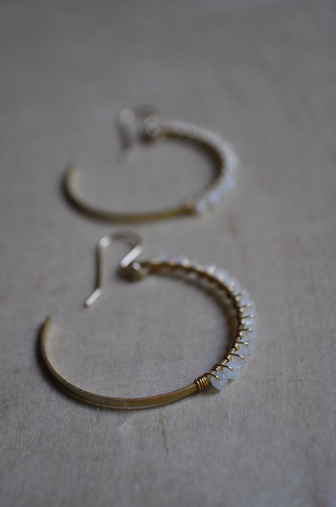 Image of Rainbow Moonstone and Brass Crescent Hoops