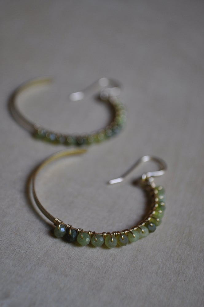Image of Green Cats Eye and Brass Crescent Hoops