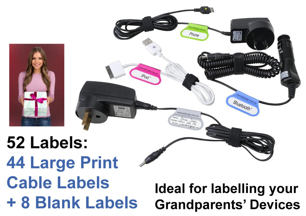 Image of 52 Printed + Blank Adhesive Large Print CABLE LABELS. SPECIAL - only $12.95 per Pack