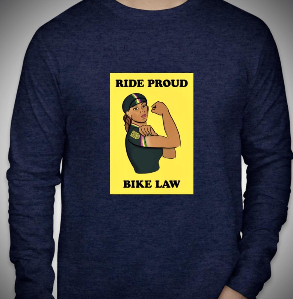 Image of LS Rosie the Rider T Shirt -  Heather Navy