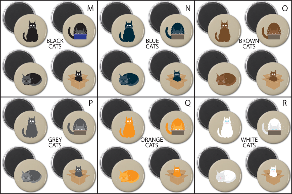 SIMPLY CATS ROUND MAGNET SETS