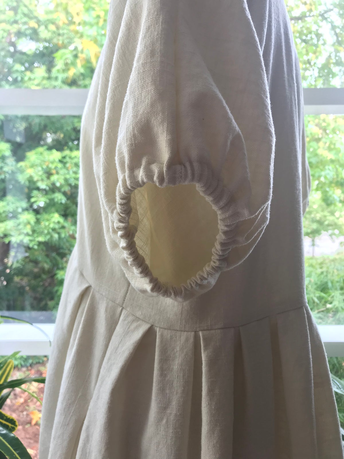 Image of Ivory Linen Puff Sleeve Tiered Dress