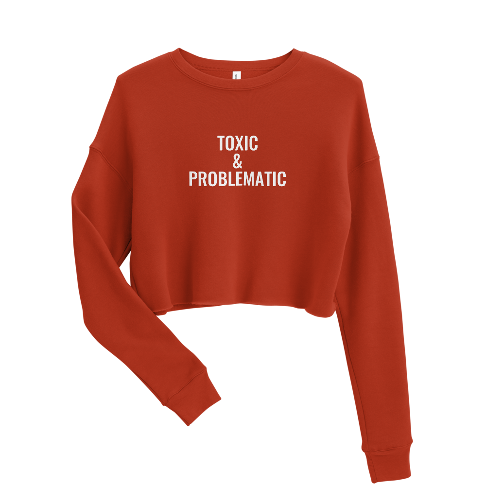 Image of Toxic Cropped Sweatshirt  - Brick Red