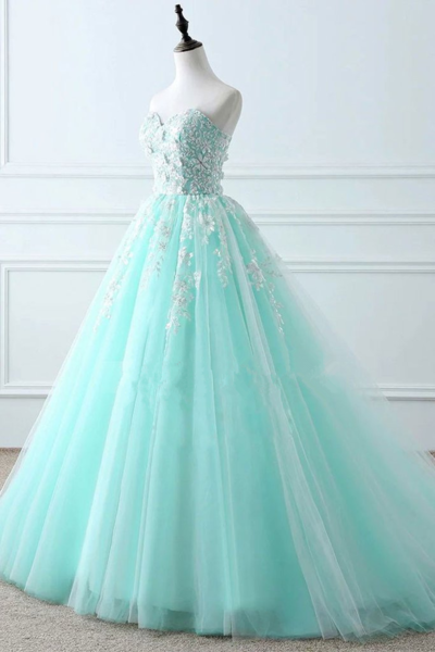Mint Blue Tulle Ball Gown Party Dress with Lace, Beautiful Sweet 16 Gown