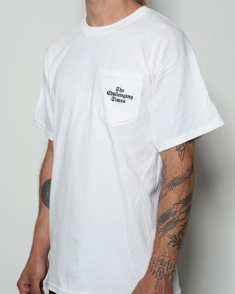"Image of ""The Challenging Times"" Pocket Tee - White"