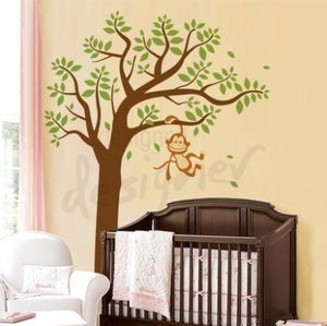 Image of Vinyl Wall Decal Art - Monkey Having Fun Swinging on Tree EXTRA LARGE - dd1021