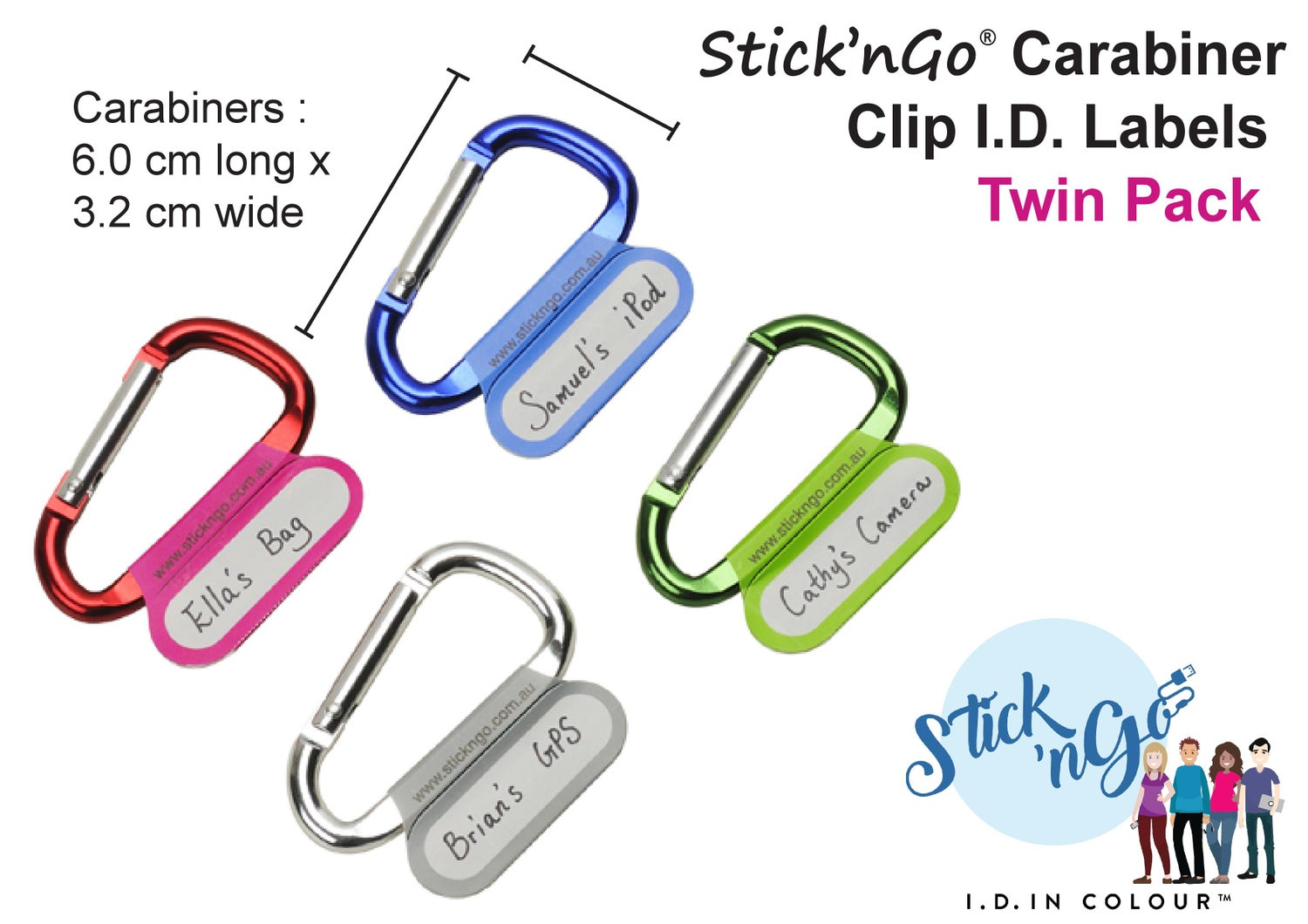 Image of Carabiner CLIP I.D. Twin-Pack - Instant clip-on I.D. to Label Anything!