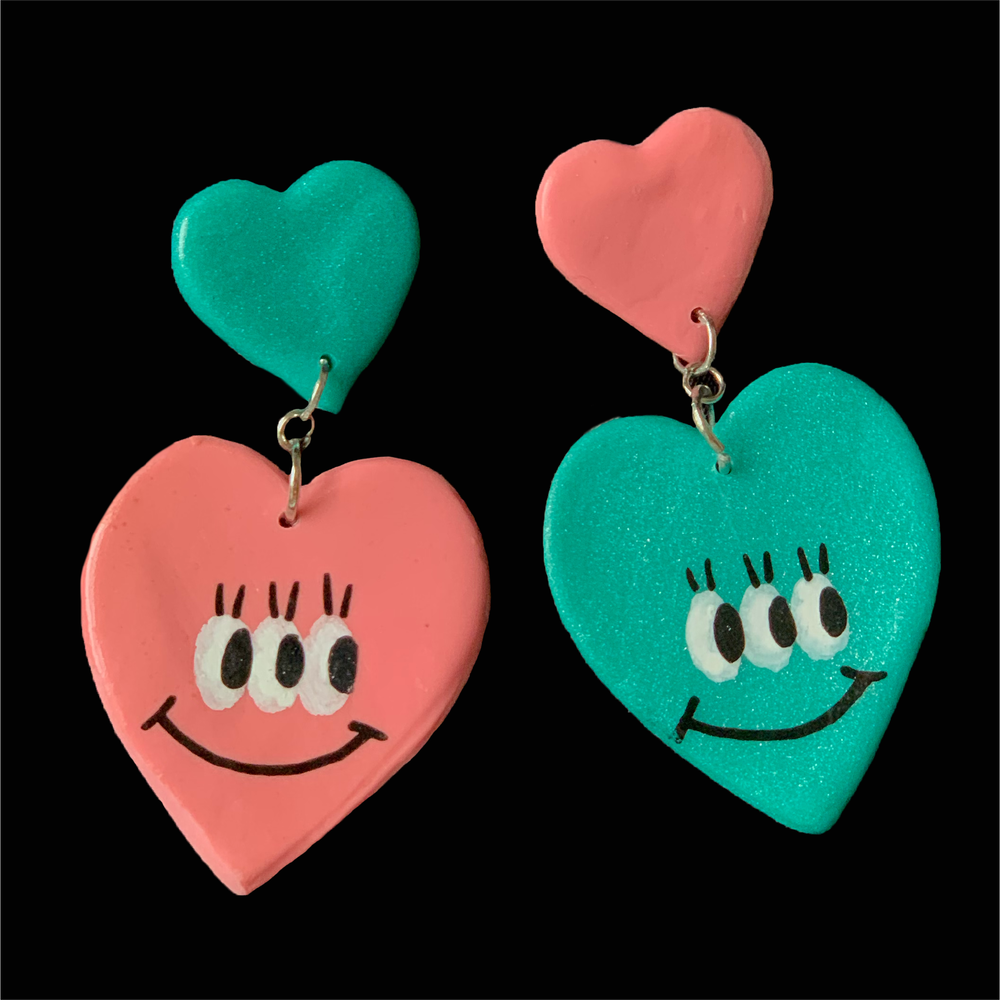 Image of Rose & Teal Double Heart Kuties