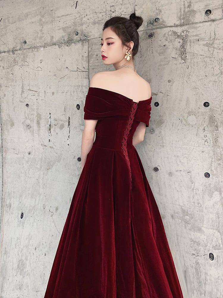 Beautiful Burgundy Long Velvet Prom Dress, Off Shoulder Wedding Party Dress