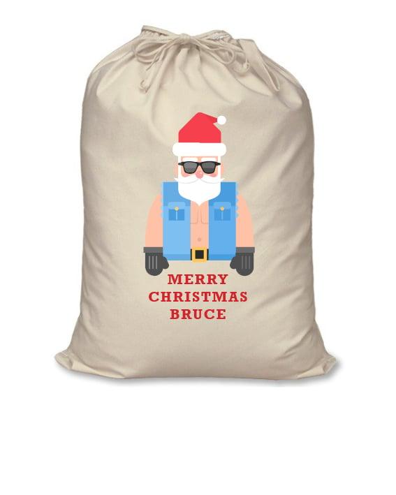 Image of Personalised Christmas Santa Sack - Bikie Santa