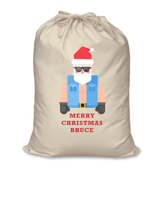 Image of Personalised Christmas Santa Sack - Bikie Santa