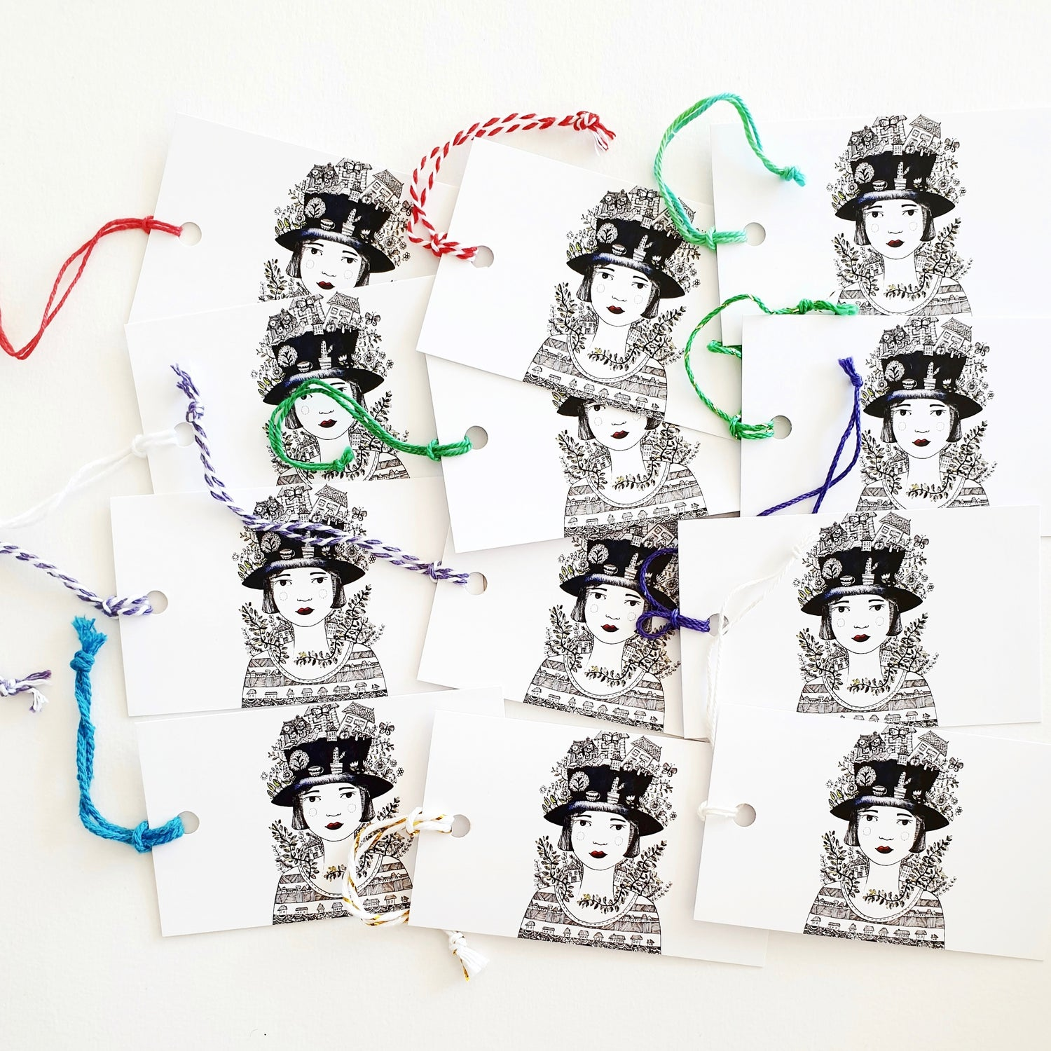 Image of Whimsy girl  Gift tags x 6