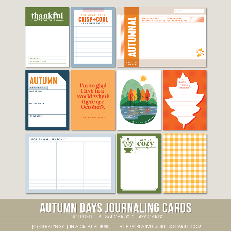 Image of Autumn Days Journaling Cards (Digital)