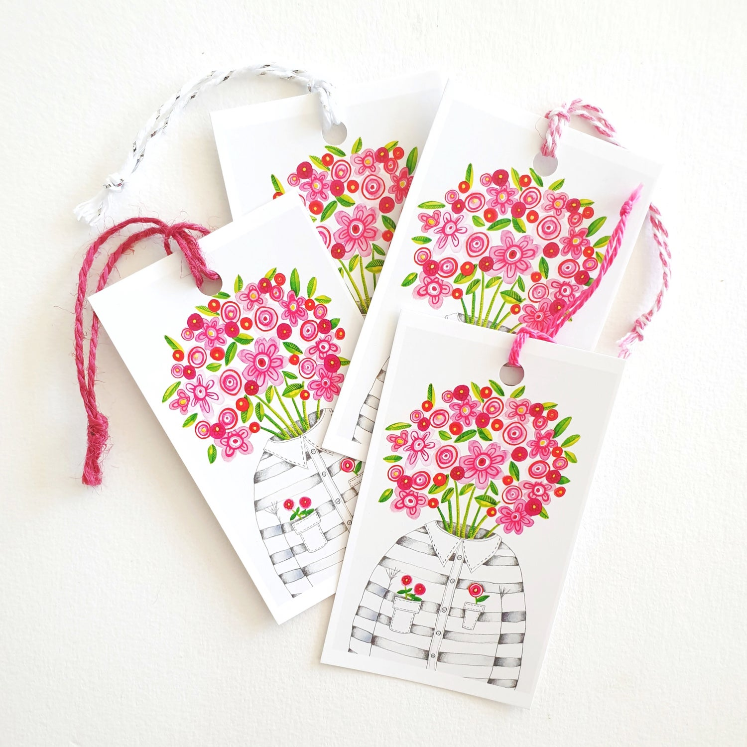 Image of Flower Head GIFT TAGS x 6