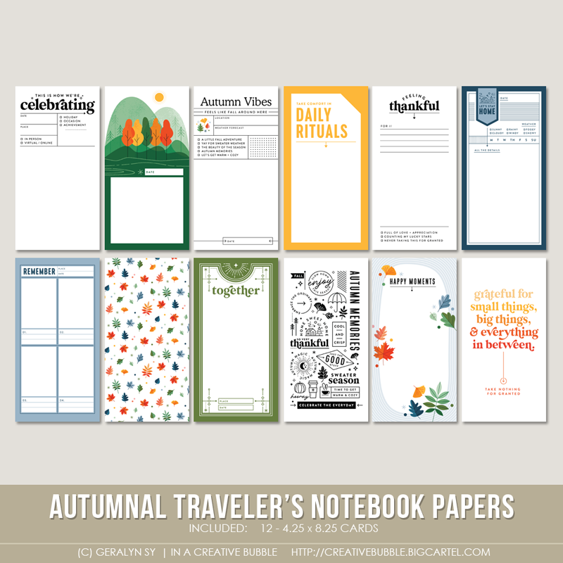 Image of Autumnal Traveler's Notebook Papers (Digital)