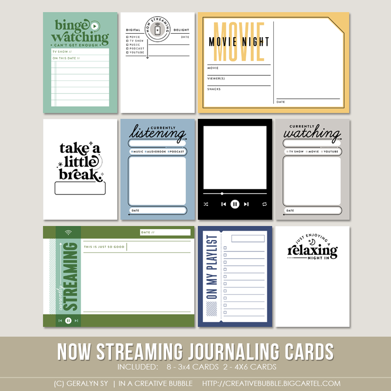 Image of Now Streaming Journaling Cards (Digital)