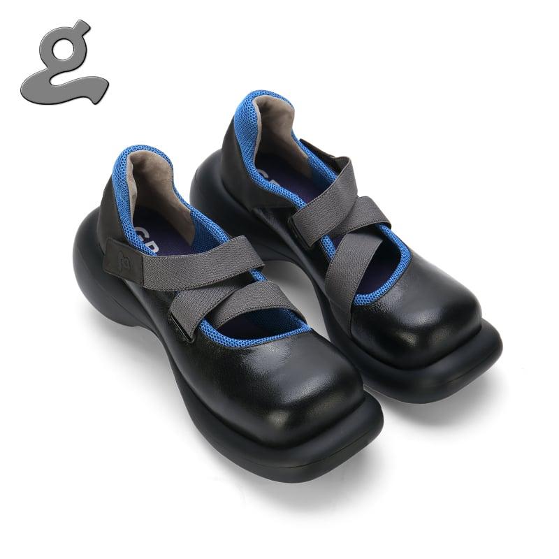 """Image of Elastic tape black platform shoes """"stranger"""""""
