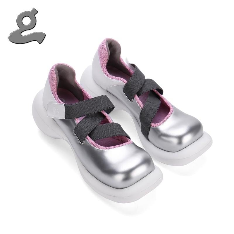 """Image of Elastic tape slivery platform shoes""""stranger"""""""