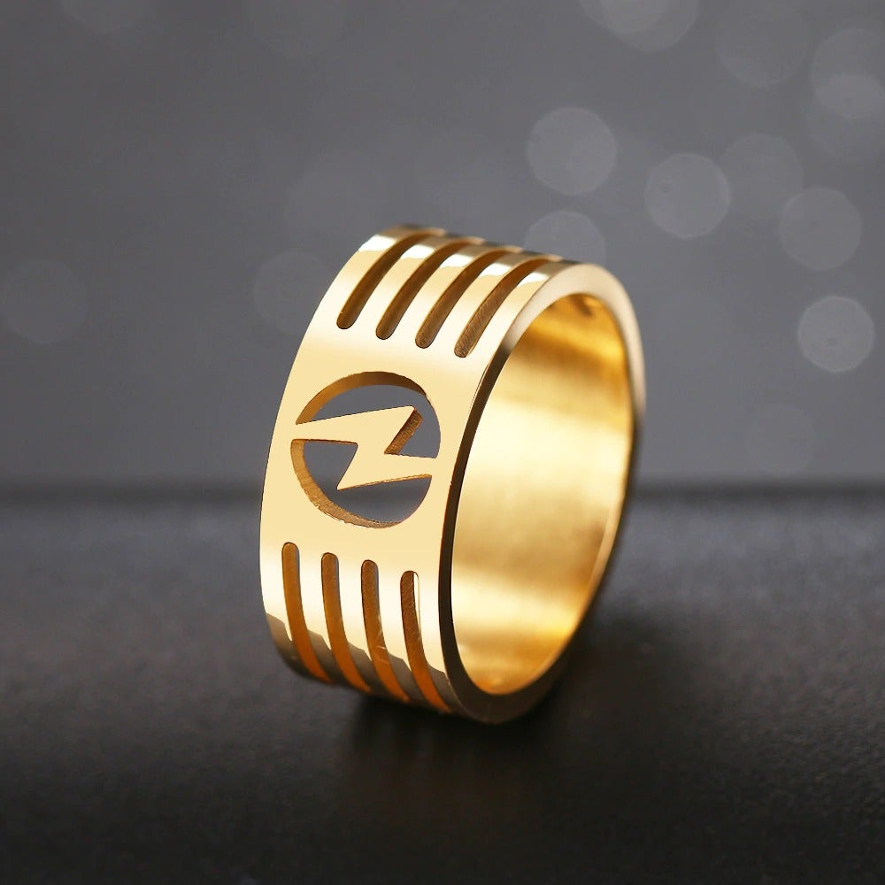 Lightning Bolt Ring in Stainless Steel (Hollowed-out Gold/Silver)