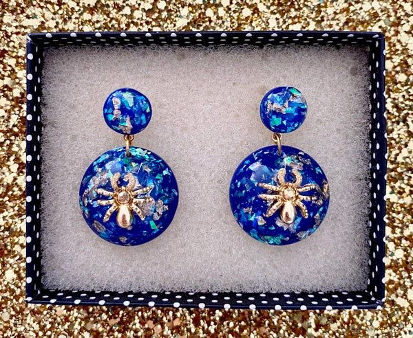 Image of Sassy Miss Spider Earrings - Blue