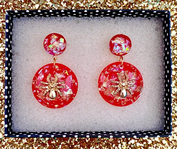 Image of Sassy Miss Spider Earrings - Red