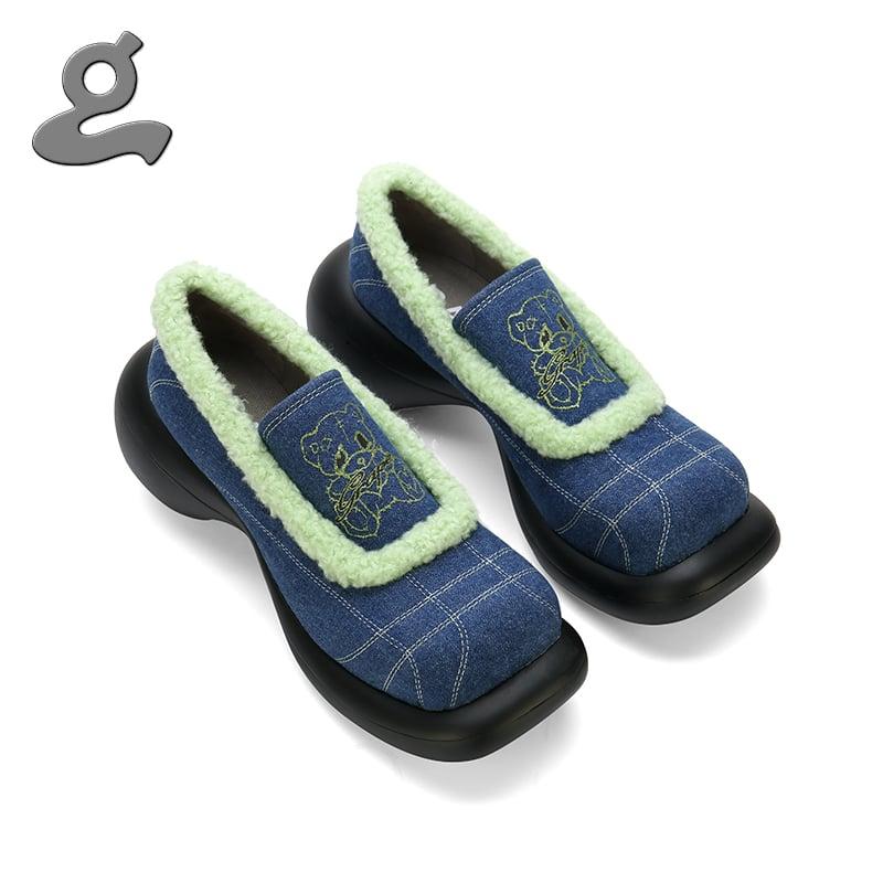 "Image of Shiny bear printing denim platform shoes""magician"""