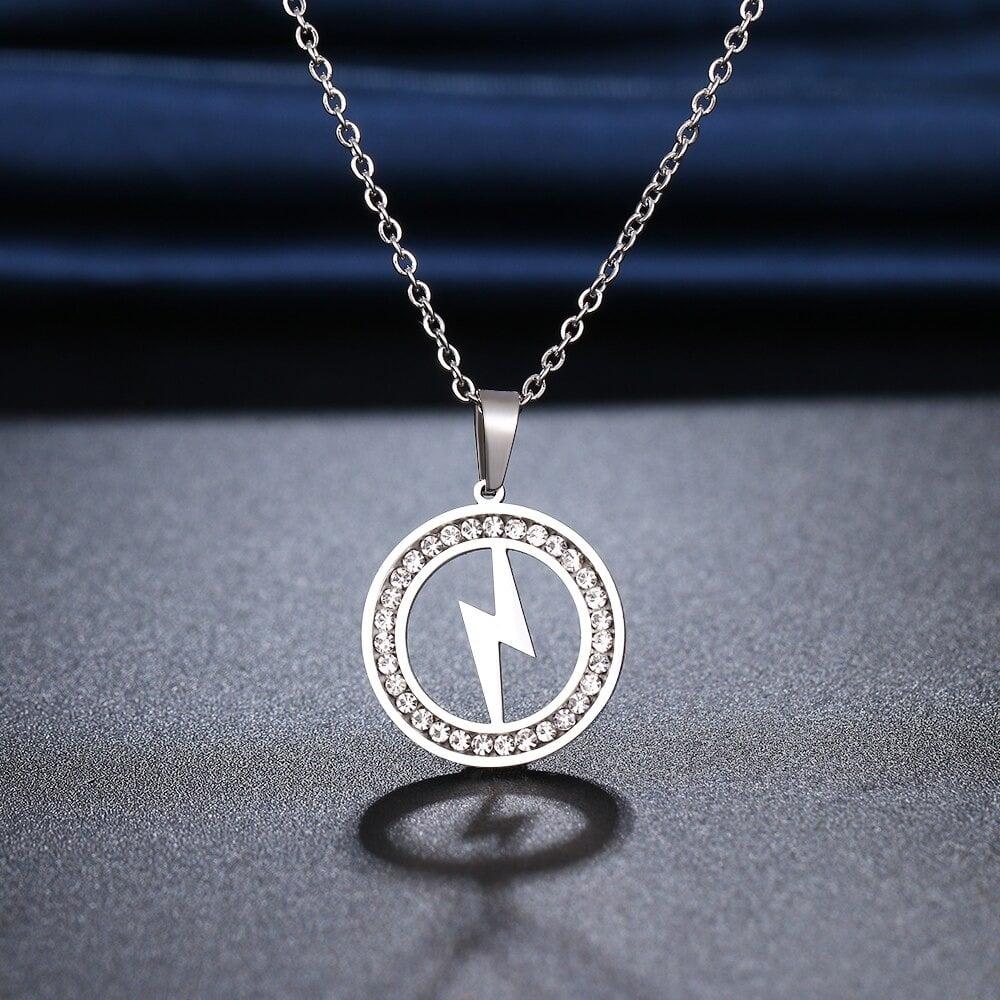 Lightning Bolt Pendant and Chain (Stainless Steel)
