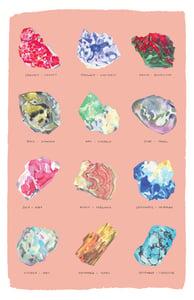 Image of Tea Towel - Birthstones on pink