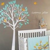 Image of Vinyl Wall Decal Art - Garden Tree With Birds - 056