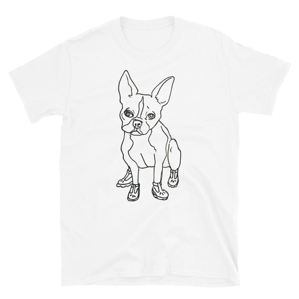 Image of Boston Terrier In T-strap shoes Unisex T-Shirt