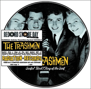 "Image of 7"" Pic Disc. The Trashmen : Surfin Bird / King Of The Surf.  Ultra Ltd."