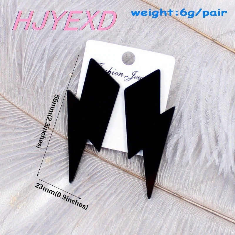 Fancy Dress Acrylic Lightning Bolt Earrings (Blue/Red/Black)