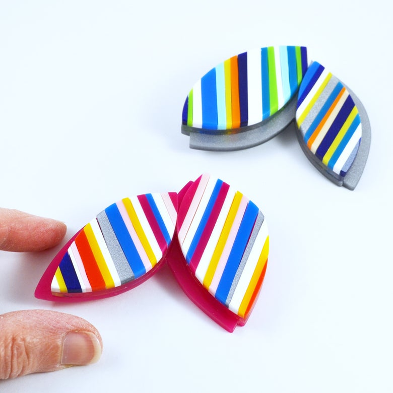 Image of Stripey Leaf Brooches