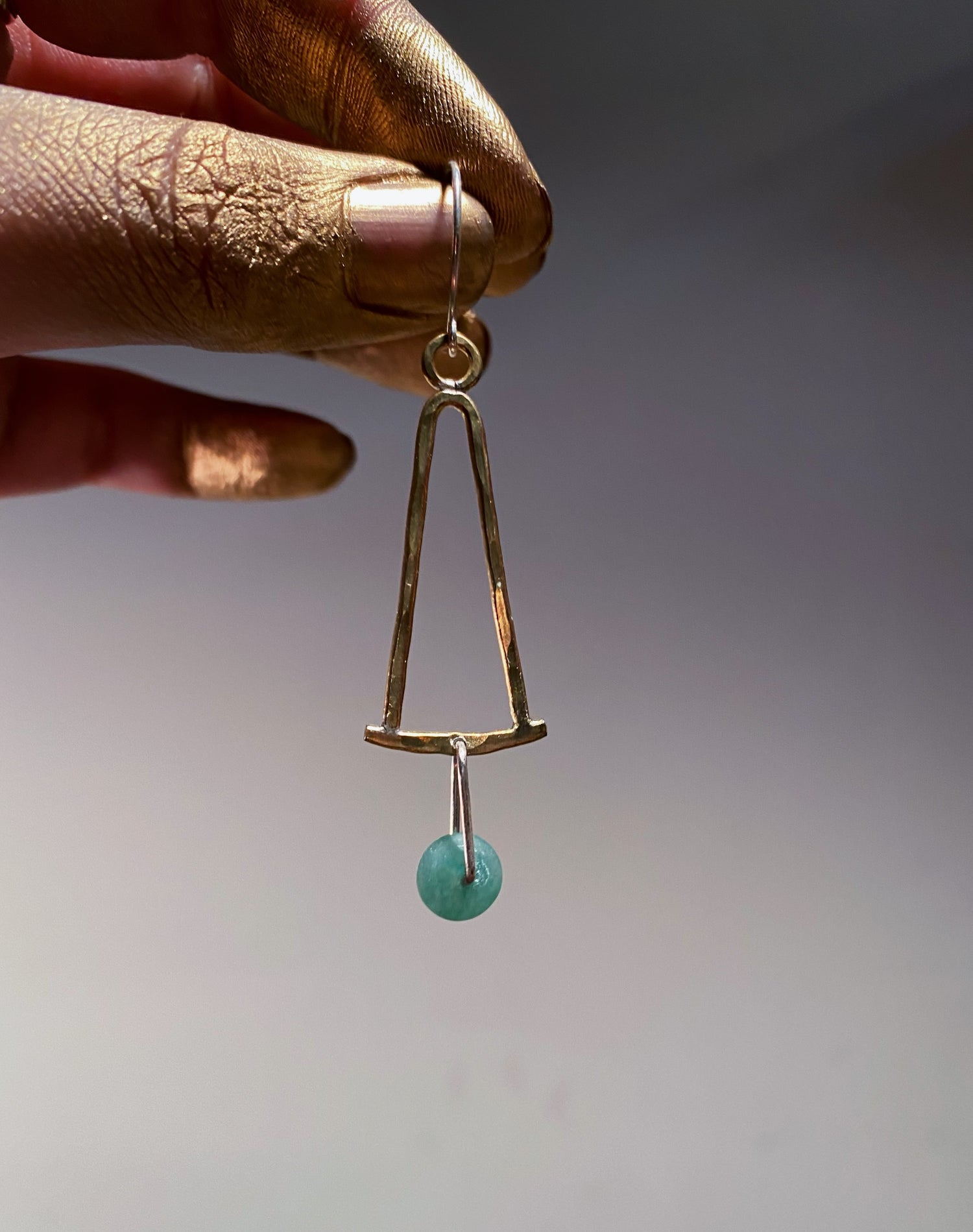 Image of Brass and green aventurine  bell