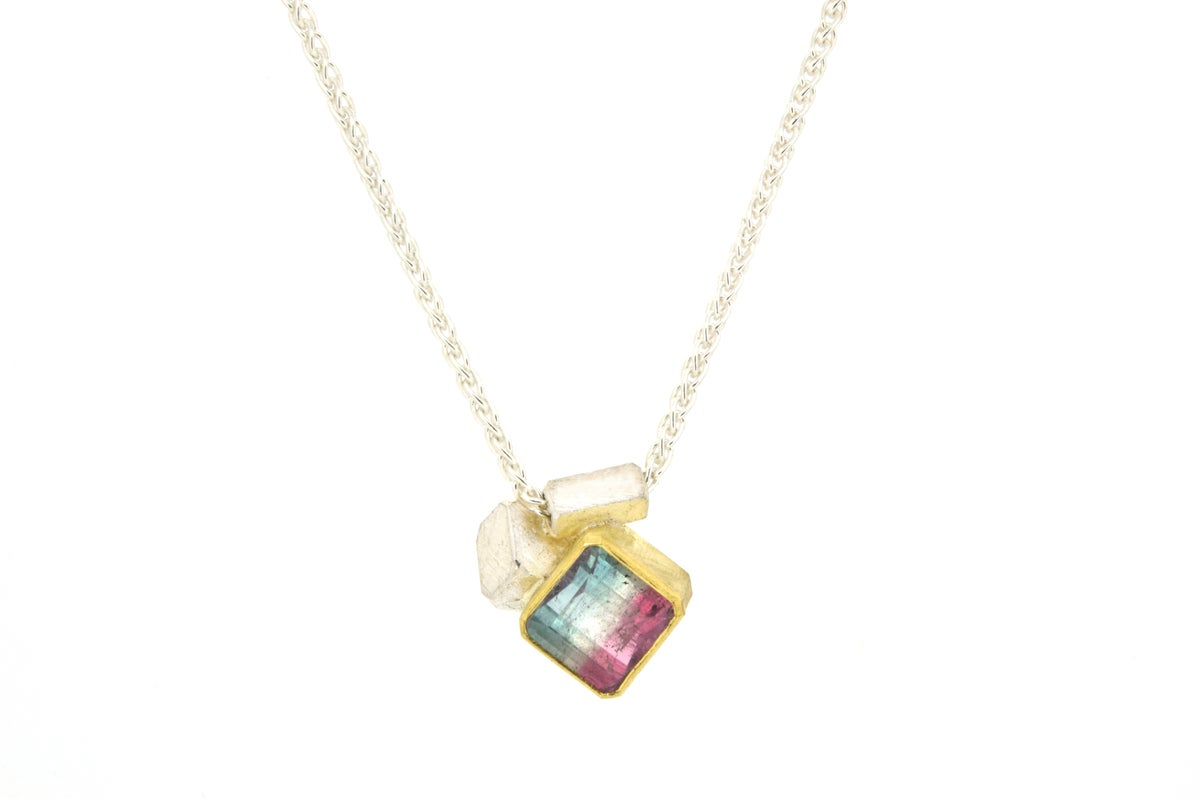 Tourmaline pendant, 18ct gold and sterling silver
