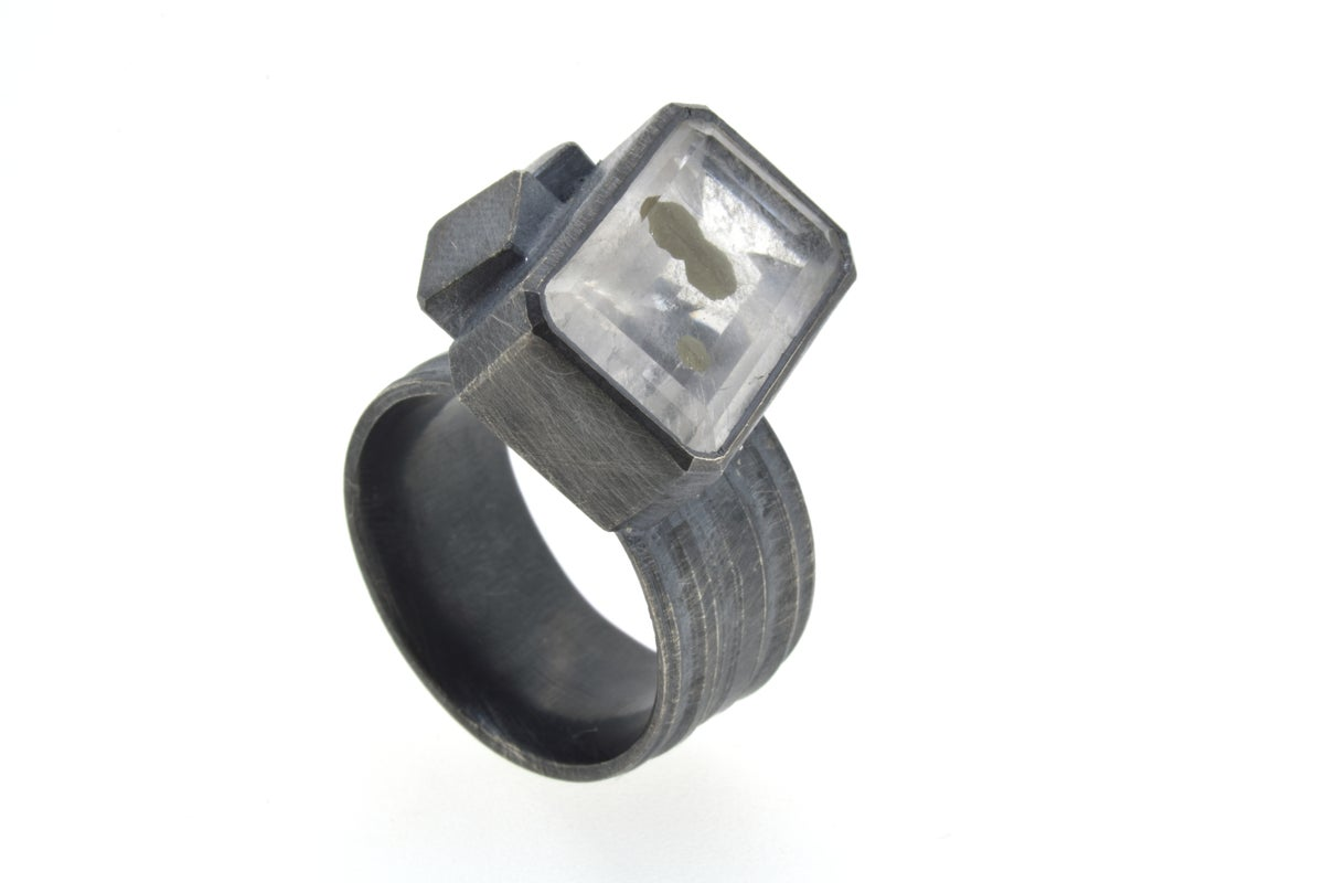 Cube cluster oxidised silver ring set with Pyrite in Quartz. Chris Boland