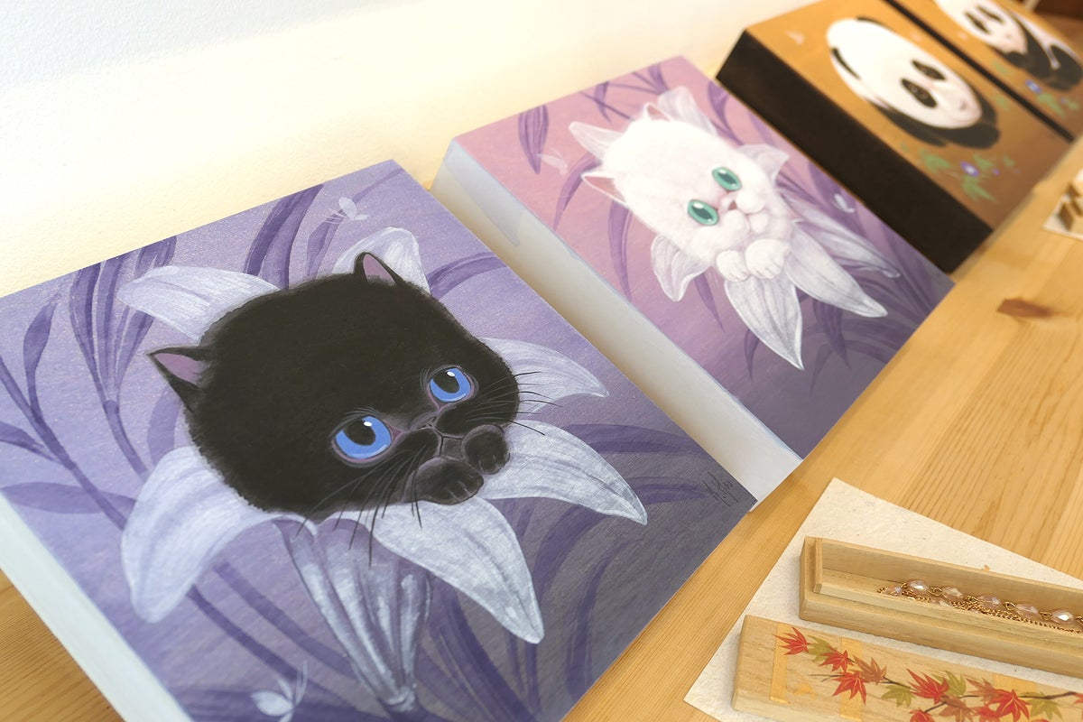 Black & White Cat Paintings