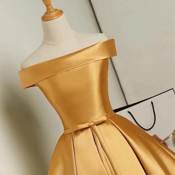 Golden Cute Satin Short Party Dress, Knee Length Off Shoulder Prom Dress