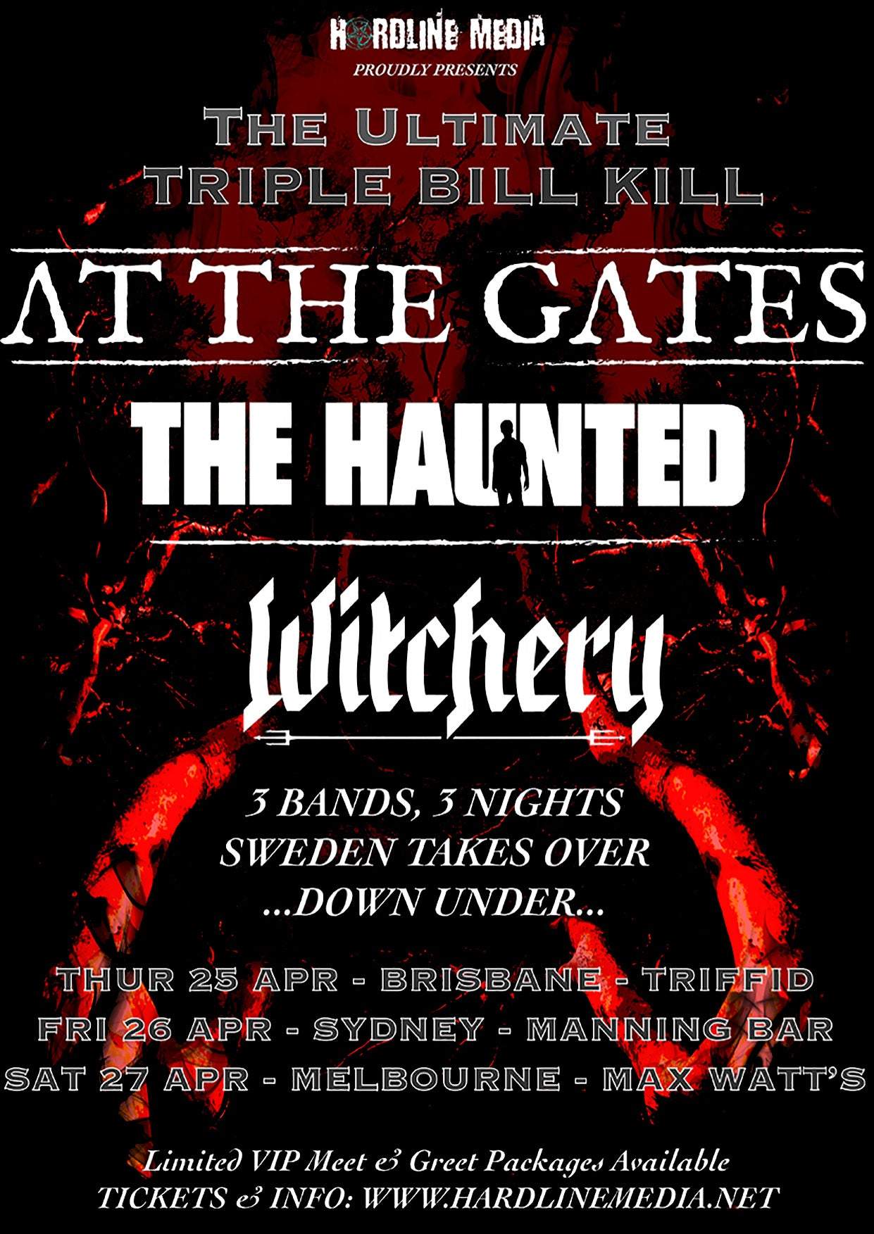 Image of AT THE GATES / THE HAUNTED / WITCHERY - Triple Bill Kill - Aussie Tour Poster