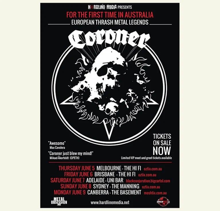 Image of CORONER - Australian Tour Poster 2014 HUGE A2 size