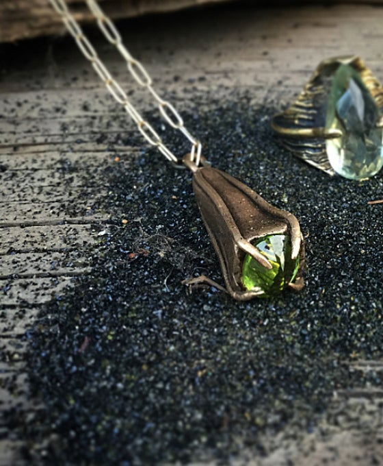 Image of Peridot Pendulum Charm Necklace