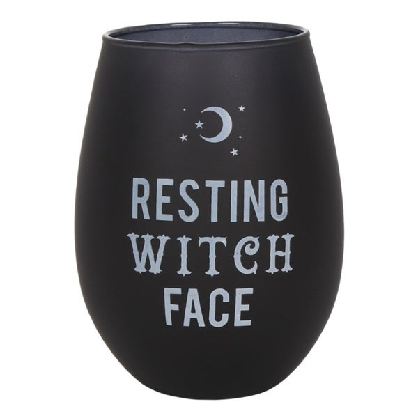Image of Resting Witch Face Black Stemless Wine Glass