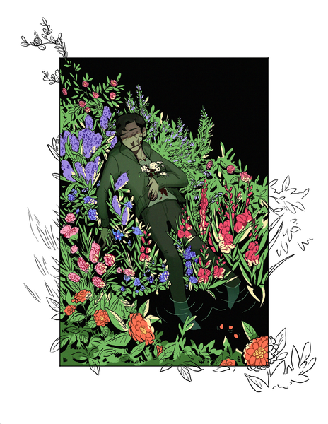 Image of [PREORDER] Eddie Flower Bed Print