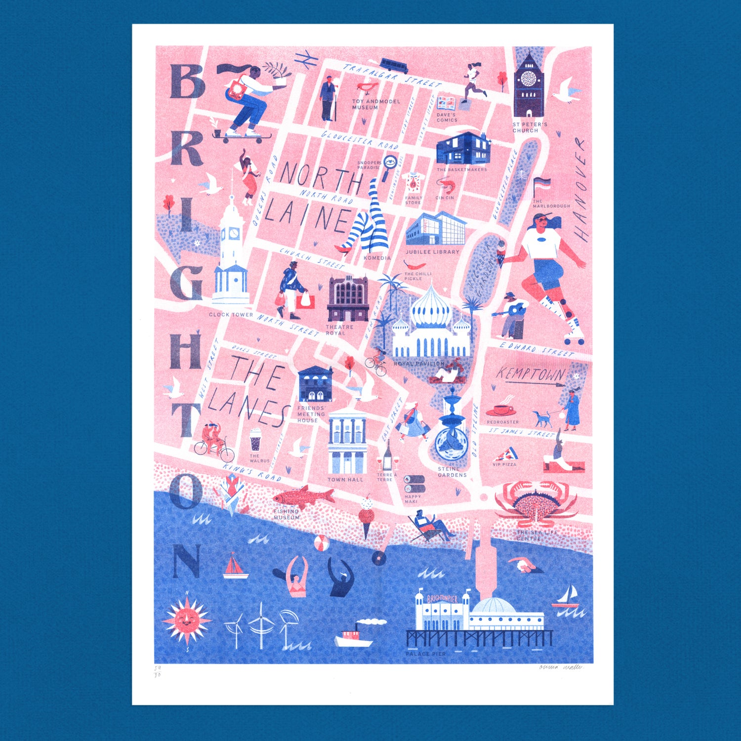 Image of Brighton Map riso print