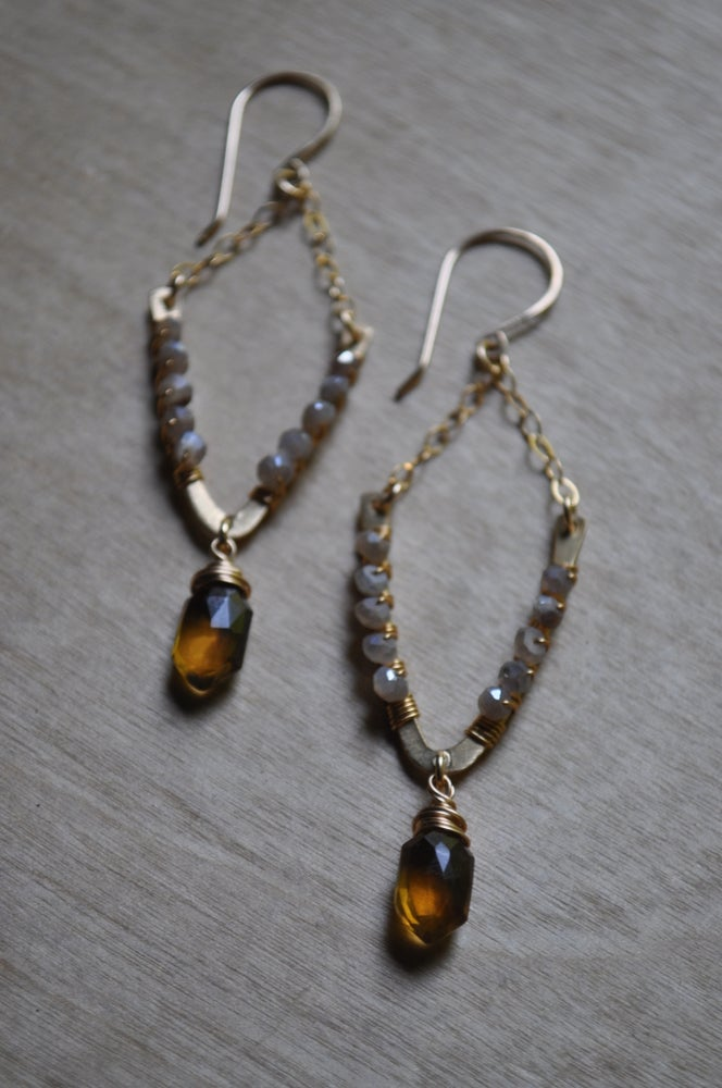 Image of The Climb Dangles - In Honey Quartz and Gray Moonstone