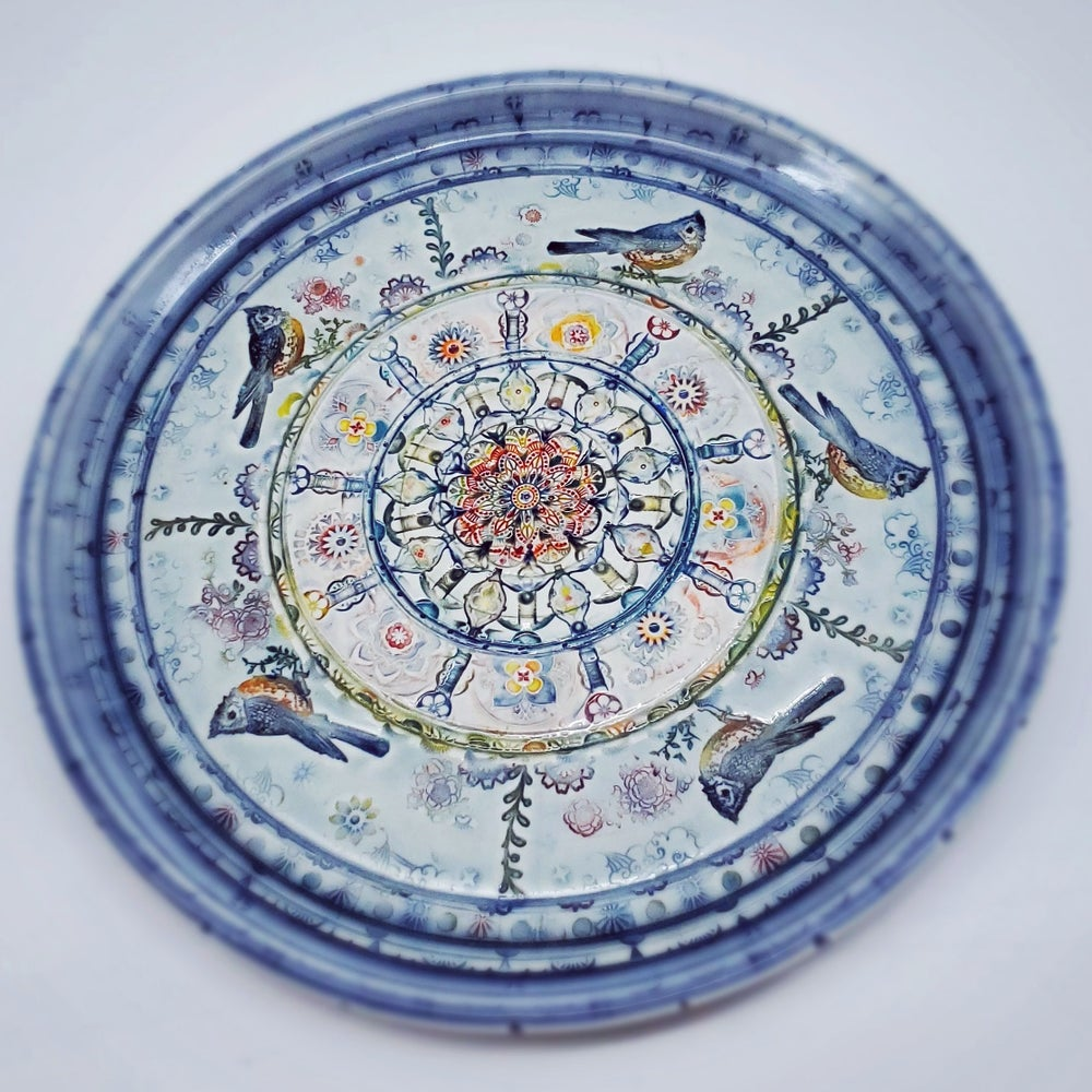 Image of Handpainted Porcelain Titmouse Plate