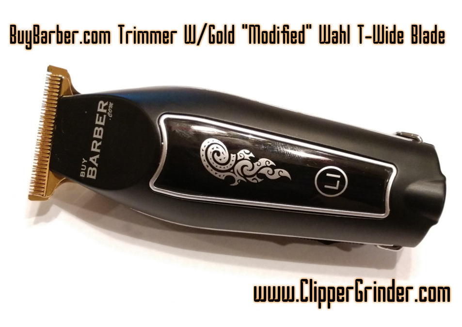 """Image of (3-4 Week Delivery) BuyBarber Cordless Trimmer W/Gold """"Modified"""" Wahl T-WIDE Blade"""